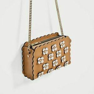 Zara Flower Faux Leather Cross Body Bag